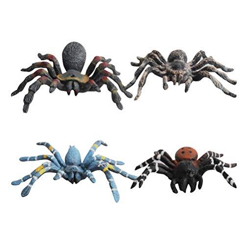Spinning Kostüm Top - Amosfun 4 stücke Spinne Spielzeug Realistische Gefälschte Spinne Kunststoff Insekt Modell Spielzeug für Halloween Streich Karneval Kostüm Ball Creepy Theme Party Requisiten