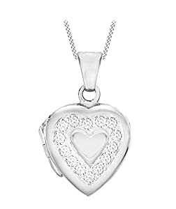 """Tuscany Silver Sterling Silver Cubic Zirconia Heart Locket on Adjustable Curb Chain Necklace of 41cm/16""""-46cm/18"""""""