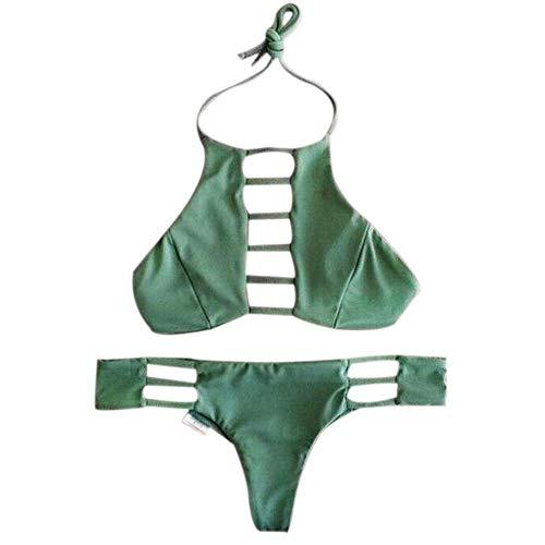 Renile Damen Bikini Set Bandeau Bandage Push-Up Bademode für Frauen Bademode Badeanzug Gr. M, grün (High Kostüme Kleinkind-monster)