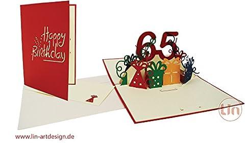 Lin de Pop up Cartes de vœux Anniversaire 65e gebur, cartes d'anniversaire cartes de vœux Cartes de vœux Anniversaire