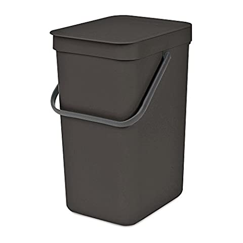 Brabantia Sort & Go Waste Bin, Plastic, Grey, 12 Litre