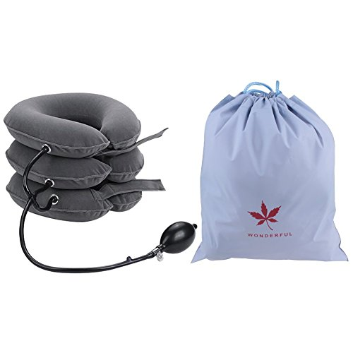 Leran cuscinetti a trazione cervicale manicotto gonfiabile morbido a traino masseur tracolla regolabile miglioramento della colonna vertebrale professionale ideale per dolori alla testa o alla spalla