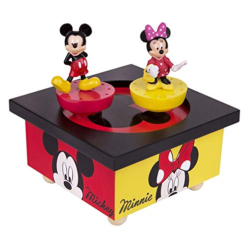 TROUSSELIER - DISNEY - Boîte à Musique Dancing - Mickey & Minnie - 2 Figurines Amovibles - Musique Nocturne de Chopin - Coloris Rouge & Jaune