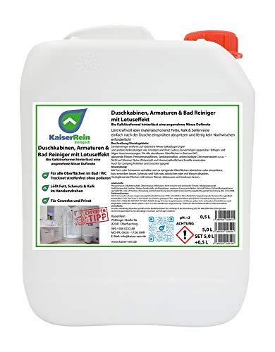Bio Duschkabinenreiniger mit Lotuseffekt/Abperleffekt 5 L Nachfüll-Kanister für die einfache Reinigung nach jeder Benutzung ohne nachwischen streifen freies abtrocknen