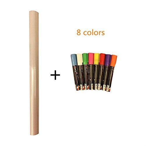 Preisvergleich Produktbild yanqiao Wand Decor Vinyl Wandtattoo Kreidetafel schälen und Stick selbstklebende,  mit 8 Farben gratis Kreide Permanentmarker Tafel Kontakt Papier 45 x 199, 9 cm schwarz Weiß