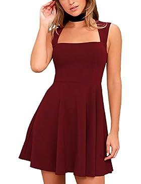 Verano Vestido Mujer Elegante Moda Colores Lisos Cuadrado Collar Sin Mangas Mini Dress Delgado Pliegue Corto Vestidos...