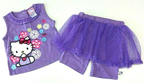 Hello Kitty Mädchen Sommer Outfit 80-86 T-Shirt + Rock mit integrierter Shorts Hose USA Size 18 Month 24 Month lila Baby Mädchen Kombination (24 Monate)