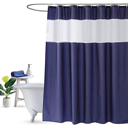 Mosaik Dusche Vorhang blau und weiß, deep blau Dusche Vorhänge Modern Design 183cm x 183cm, Polyester-Mischgewebe, marineblau, 72Wx78L - Dusche Liner-navy Vorhang Blau