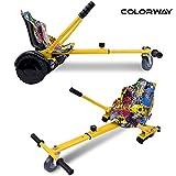 COLORWAY HoverKart pour Hoverboard Kart Siège pour Gyropode, Scooter Électrique, Ajustable Compatible avec Scooter 6.5', 8.5', 10' Scooters(Hiphop)