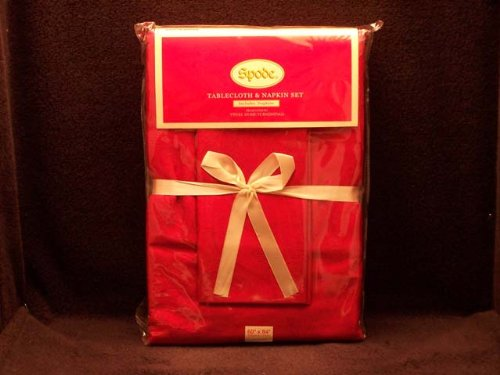 Spode Holly Rot Damast Christmas Baum Tischdecke und Serviette Set: 213,4x 152,4cm rechteckig + 6Servietten -