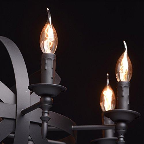 Rustikale Pendelleuchte mittelalterlicher Kronleuchter mit Kerzen 8-flammig Landhausstil - 5