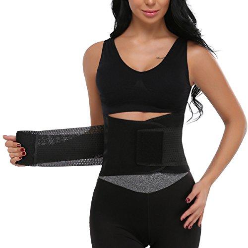 MISS MOLY Femme Ceintures de sudation serre taille corset sculptant Cincher réglable Belt Body Shaper - Taille Large - Noir