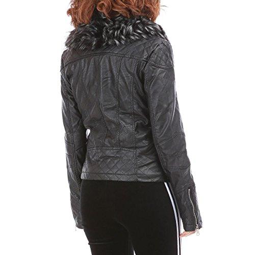 La Modeuse - Veste en simili cuir style motard fourrée Noir
