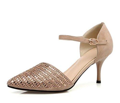 Nozze OL pompe Donne D'orsay punte a coda di caviglia Stiletto 7,5 cm Scarpe femminili Heel Ue 33-43 Black