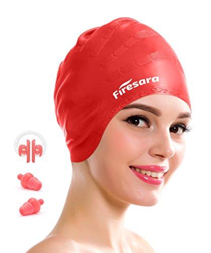 Badekappe für lange Haare, Firesara Wasserdichte Silikon Badekappe für Dreadlocks oder kurze Haare für Erwachsene Männer Frauen Jugend Kinder mit Nasenklemme und Ohrstöpsel (Rot)