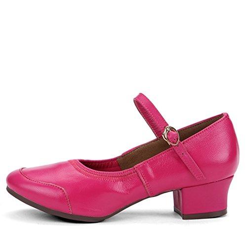 Wxmddn I pattini di ballo femminili hanno saltato le scarpe rosse delle scarpe da quattro stagioni delle scarpe da ballo delle suole molli adulti Rose Red