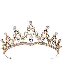 Barroco Rhinestone Tiara Coronas para mujeres Coronas de novia Coronas Coronas Joyas Accesorios para el cabello (Oro)