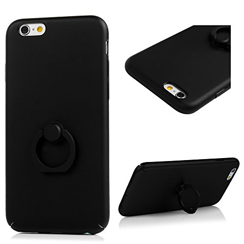 iPhone 6 Plus/ 6s Plus Cover Opaco Vernice Metallizzata Rigida Plastica PC - YOKIRIN Case con Stent Anello Ultra Slim Sottile Case [Custodia + Penna Capacitiva] - Nero Nero
