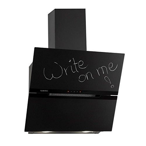 Klarstein sancta clara 60 cappa aspirante aria di scarico/di ricircolo 3 fasi 620 m³/h led pannello touch montaggio a parete superficie in lavagna scrivibile telecomando nero