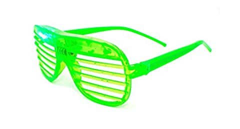 Ultra ® 1 x Green Coloured Flashing Retro LED Shutter Style Glasses Slotted for Adults and Kids Parties Party Events Raves Dance Clubs and Costume Parties Pink Green Blue Purple White Coloured Slotted Shades Novelty Eyewear Glowing Light Up
