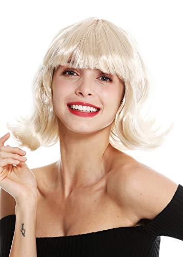 WIG ME UP - 90793-ZA83 Perücke Damen Halloween Karneval kurz Longbob Bob blond geschwungene Spitzen Pony (Halloween Blonde Perücke Bob)