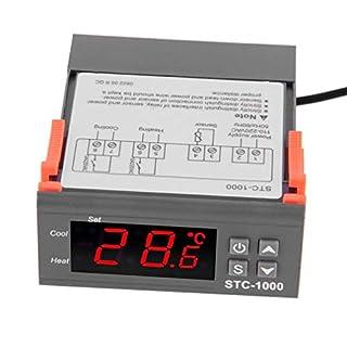 Kayleeolivi STC-1000 Digitaler Temperaturregler Temperatur Regler Temperature Controller Thermostat Thermoelement Heizen oder Kühlen mit Temperaturfühler Sensor Sonde 220V