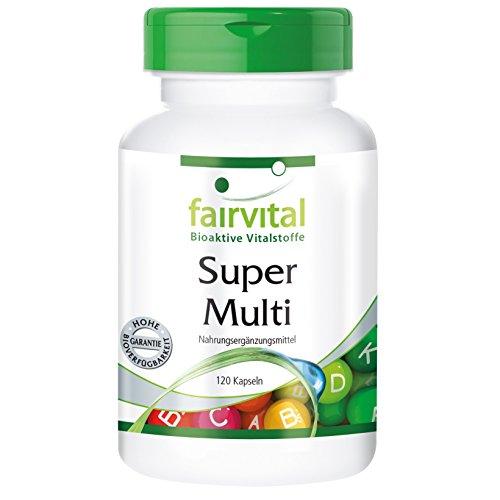 fairvital vitamin d3 Super Multi - GROSSPACKUNG für 4 Monate - HOCHDOSIERT - 120 Kapseln - Multivitamin nach Linus Pauling