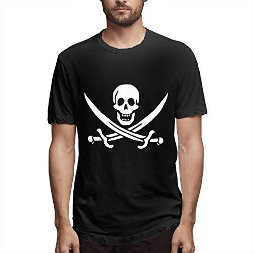 Piratenflagge Und Schädel Männer Kurzarm Shirts T Sport Cool T Shirt Tees Mode Lässig (4XL,Schwarz) -
