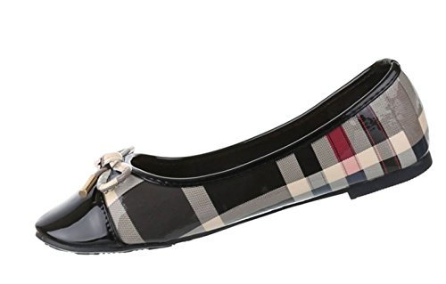 Damen Ballerinas Schuhe Loafers Slipper Slip-on Flats Pumps Schwarz Multi Rot Weiß 36 37 38 39 40 41 Schwarz