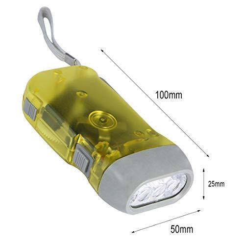 Formulauff 3 LED Handdrücker Dynamo Kurbel Leistung zum Aufziehen Taschenlampe Handlampe Press Camping Lampe Gelb
