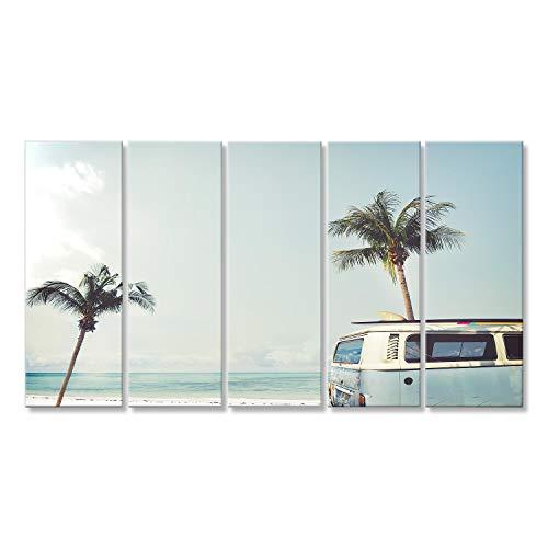 Cuadro Cuadros Vintage Coche aparcado Playa Tropical