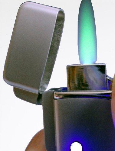 Laser - Sturm - Feuerzeug mit Beleuchtung mit grüner Turboflamme : Silberfarbig mitSOFORTGRAVUR + VORSCHAU: Gravur des Vornamens inklusive