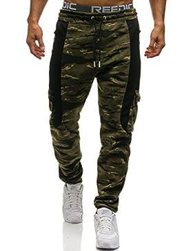 BOLF Hombre Pantalones Jogger Aspecto Militar 6F6 Motivo
