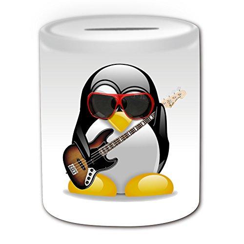 Personalisiertes-Geschenk–E-Bass-Gitarre-Spardose-Design-Pinguin-in-Kostm-Thema-wei–alle-NachrichtName-auf-Ihre-einzigartige–Musik-Musikinstrument