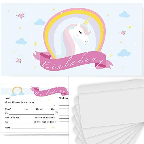 Postkartenschmiede 12 Einhorn Einladungskarten Kindergeburtstag mit Umschlägen, Geburtstag Kinder Mädchen, Einhorn-Party Einladung, Pyjama-Party (12 Karten)