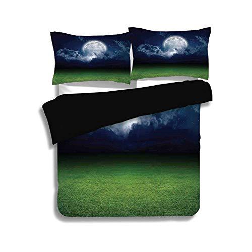 Schwarzer Bettbezug-Set, Mystic House Decor, Grasfeld-Sportstadion unter bewölktem Nachthimmel mit Moon Lunar Mystic, Green Navy, dekoratives 3-teiliges Bettwäscheset von 2 Pillow Shams, King Size (Navy King-size-pillow Shams)