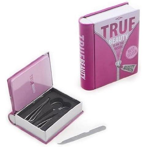 Set de manicura infantil en caja de metal, diseño de libro truf beauty best seller, color rosa
