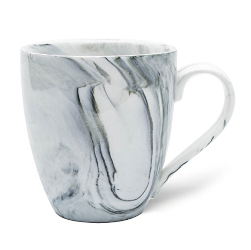 Hausmann & Söhne XL Tasse weiß groß aus Porzellan in schwarz Grauer Marmorierung | Tasse 350 ml (400 ml randvoll) | Kaffeetasse/Teetasse | Kaffeebecher Marmor | Geschenkidee