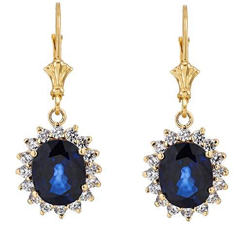 riert Halo LC Saphir & Diamant Ohrringe in 14 Karat Gelbgold ()
