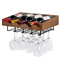 Brightmaison Wall Mounted Walnut Stained Wood Wine Stem Rack for 4 Bottles and Stemware Glass Storage
