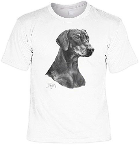 Hunde Shirt/ T-Shirt mit Dog Aufdruck: Dobermann - tolles Tier-Motiv für Hundefreunde Weiß