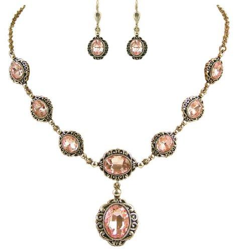 Elegantes Trachtenschmuck Dirndl Collier Set - bestehend aus Collier und Brisur Ohrringen - Light Rose Rosa