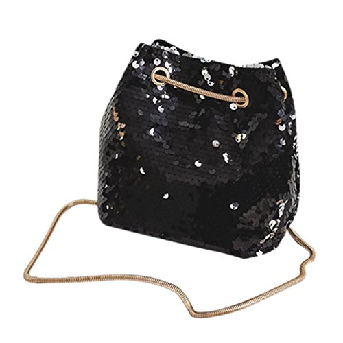 VENMO Frauen Mädchen Mode Umhängetasche Pailletten Beuteltasche Bag Handtasche mit Pailletten Streifen Schultertasche Tasche Umhängetasche Henkeltasche Handtasche Leichte Schultertasche (Black)