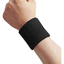 Gankmachine 1x Unisex Tela de Toalla de algodón Sweatband de Pulsera Deportivo de Tenis el Wristband Sudor Yoga Negro