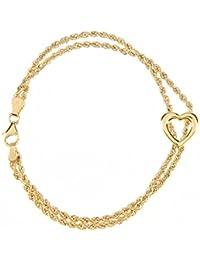 Citerna 9ct Yellow Gold Lariat Heart Bracelet of Length 18.4cm
