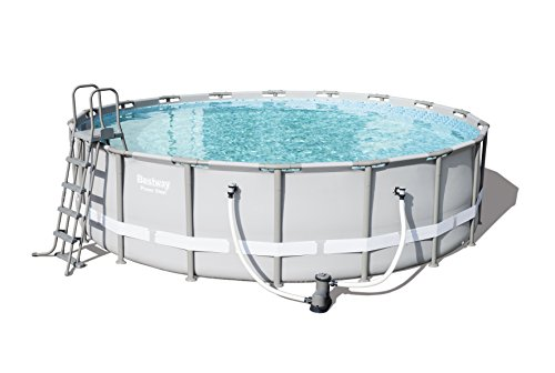 Bestway Power Steel Frame Pool Komplettset, rund, grau, 549 x 132 cm