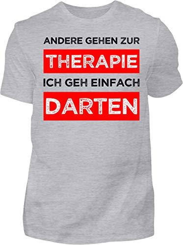 Kreisligahelden T-Shirt Herren Meine Therapie ist Darten - Kurzarm Shirt Baumwolle mit Spruch Aufdruck - Hobby Freizeit Fun Dart Darts 180 (S, Grau)