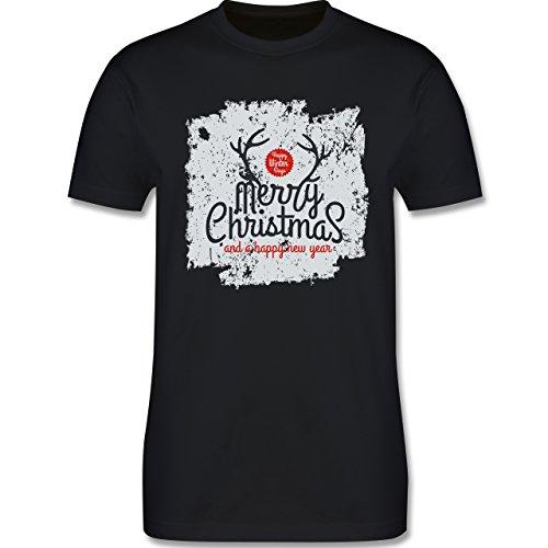Weihnachten & Silvester - Merry Christmas Happy new year Grunge Hirschgeweih - Herren Premium T-Shirt Schwarz
