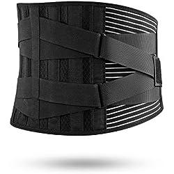 FREETOO Rückenbandage mit Stützstreben Verstellbare Zuggurte und Atmungsaktiver Nylonstoff ideal für Arbeitsschutz entlastet die Rückenmuskulatur und zur Haltungskorrektur