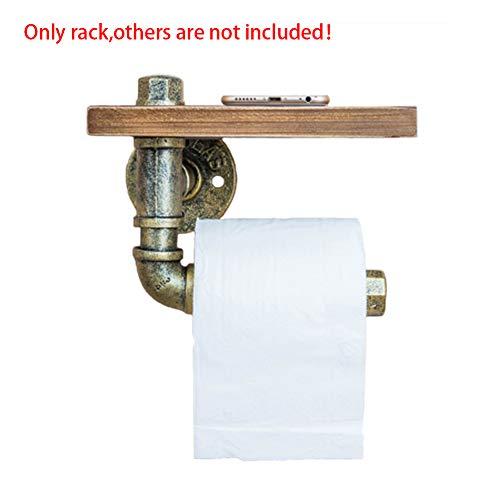 YUOKI99 Wandregal Industrie Rohr Eisen Wand Toilettenpapierhalter mit Holzregal Handyhalter Vintage Tissue Rack für Badezimmer Dekoration (Bronze)
